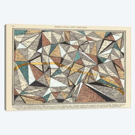 Modern Map of Paris Canvas Print #NIK20} by Nikki Galapon Canvas Print