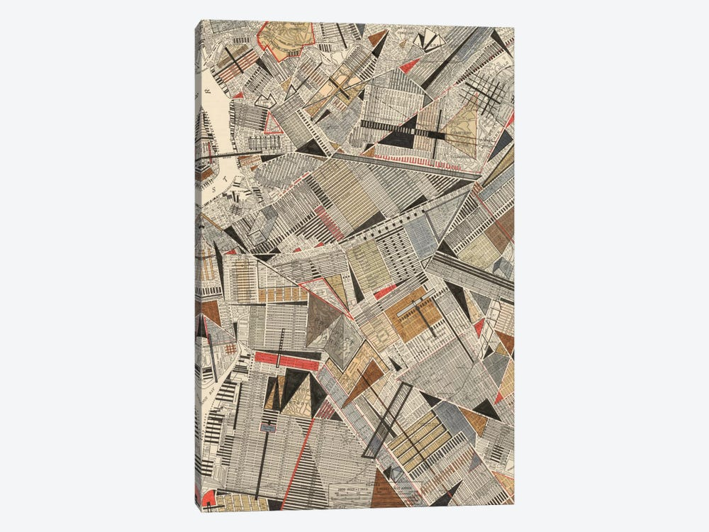 Modern Map Of Brooklyn by Nikki Galapon 1-piece Canvas Art Print