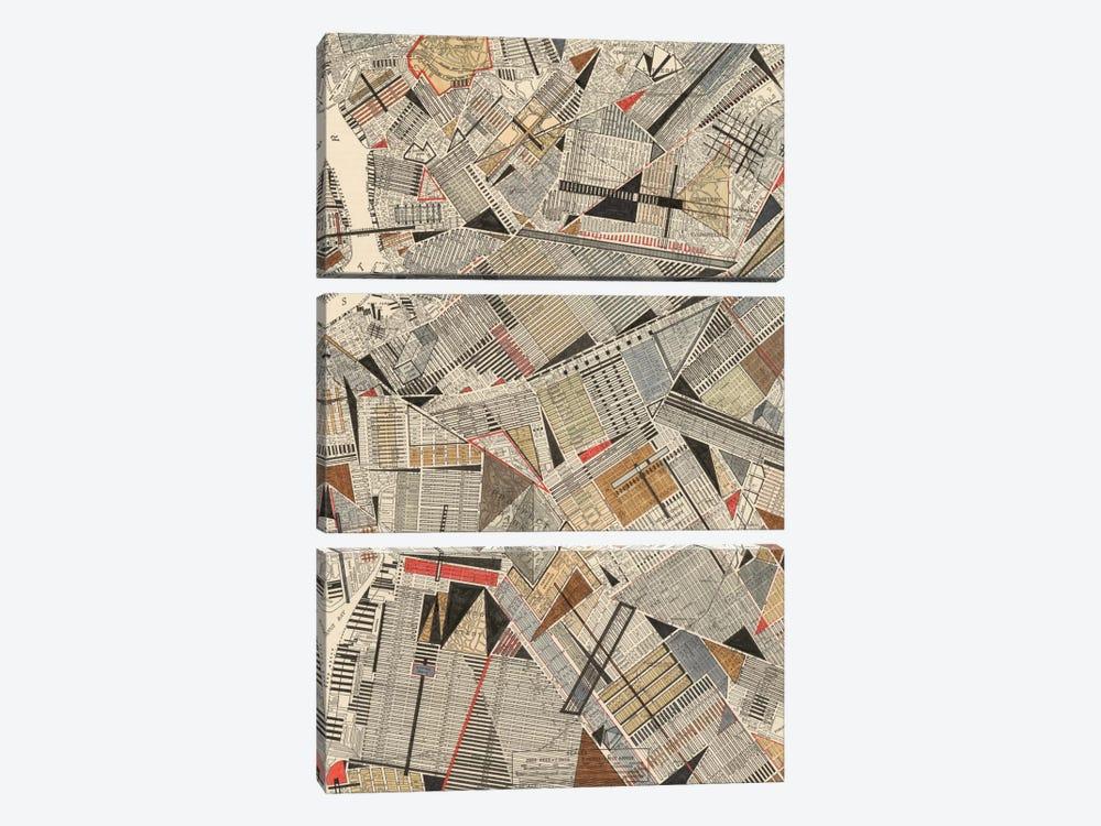 Modern Map Of Brooklyn by Nikki Galapon 3-piece Canvas Art Print