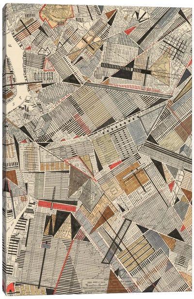 Modern Map Of Brooklyn Canvas Print #NIK2