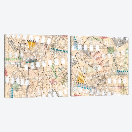 Grid Lines Diptych Canvas Print Set #NIK2HSET001} by Nikki Galapon Canvas Artwork