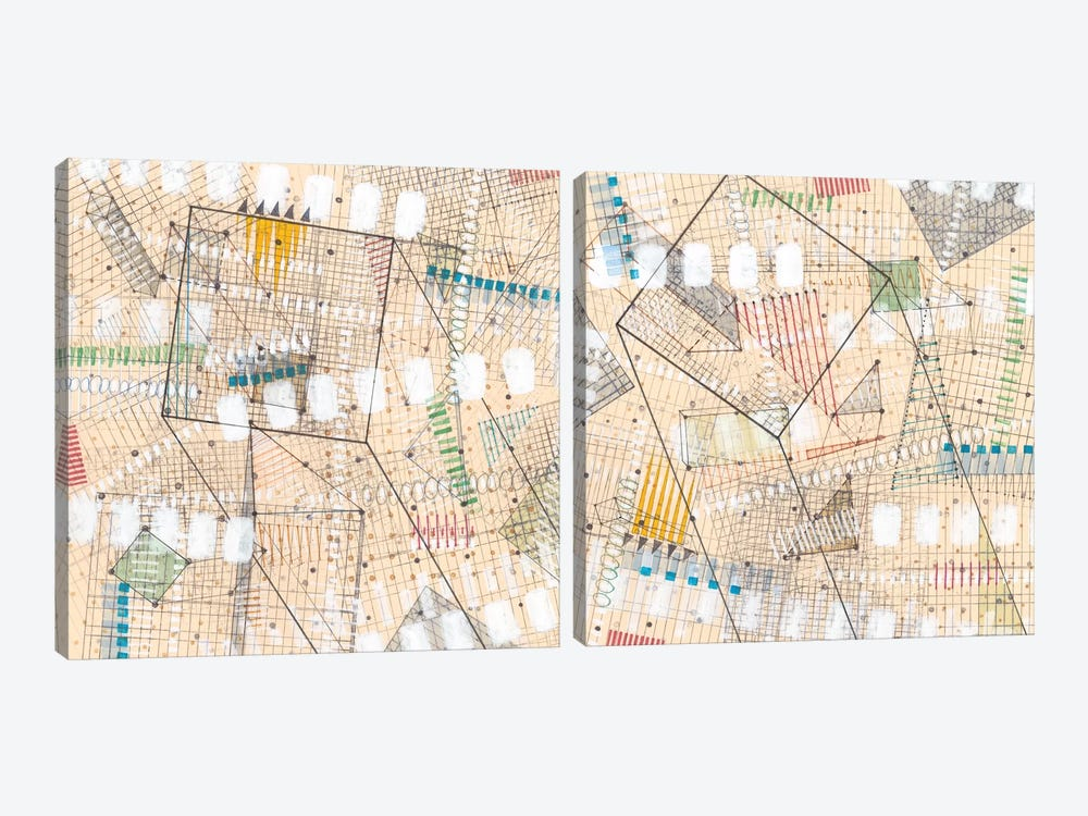 Grid Lines Diptych by Nikki Galapon 2-piece Canvas Artwork