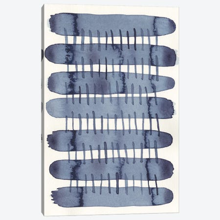 Indigo Stitchy I Canvas Print #NIK30} by Nikki Galapon Canvas Wall Art