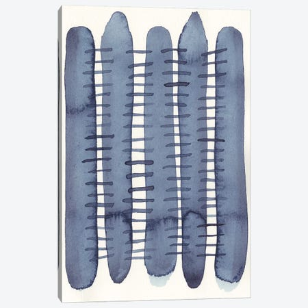 Indigo Stitchy II Canvas Print #NIK31} by Nikki Galapon Canvas Art