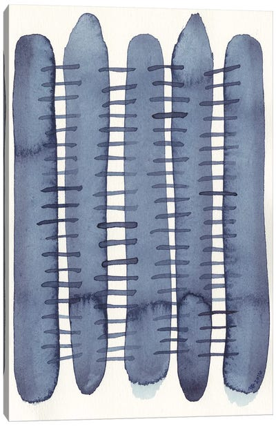 Indigo Stitchy II Canvas Art Print