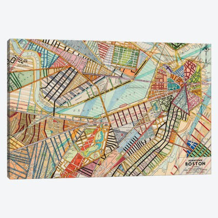 Modern Map Of Boston Canvas Print #NIK38} by Nikki Galapon Canvas Art