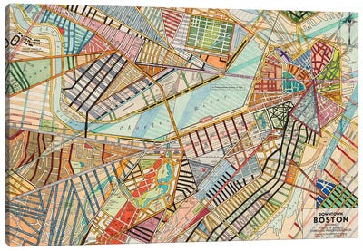 Modern Map Of Boston Canvas Art Print