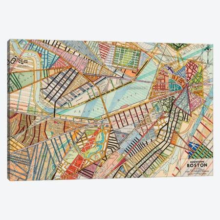 Modern Map Of Boston Canvas Print #NIK38} by Nikki Galapon Canvas Art