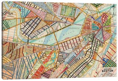 Modern Map Of Boston Canvas Art Print