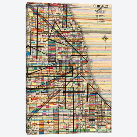 Modern Map Of Chicago Canvas Print #NIK39} by Nikki Galapon Canvas Artwork
