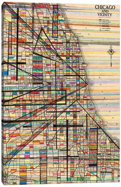 Modern Map Of Chicago Canvas Art Print