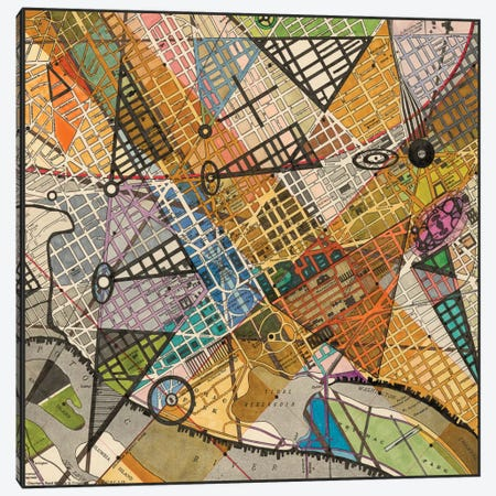 Modern Map Of D.C. Canvas Print #NIK3} by Nikki Galapon Canvas Wall Art