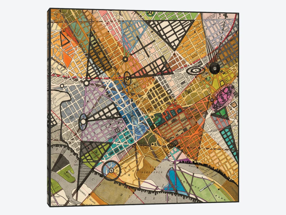 Modern Map Of D.C. by Nikki Galapon 1-piece Canvas Art