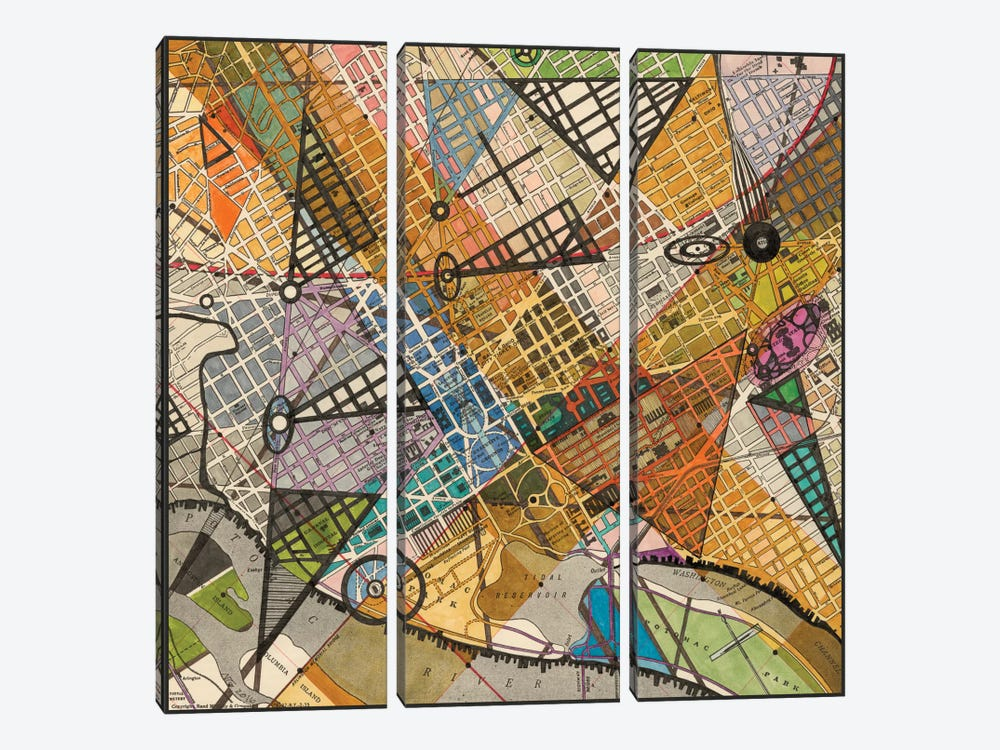 Modern Map Of D.C. by Nikki Galapon 3-piece Canvas Wall Art