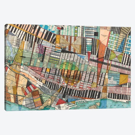 Modern Map Of Montreal Canvas Print #NIK40} by Nikki Galapon Art Print