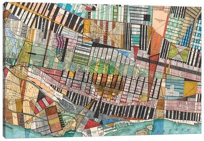 Modern Map Of Montreal Canvas Art Print