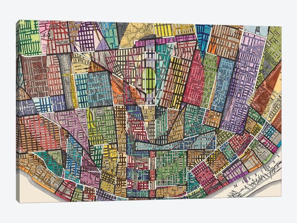 Modern Map Of St. Louis by Nikki Galapon 1-piece Canvas Art