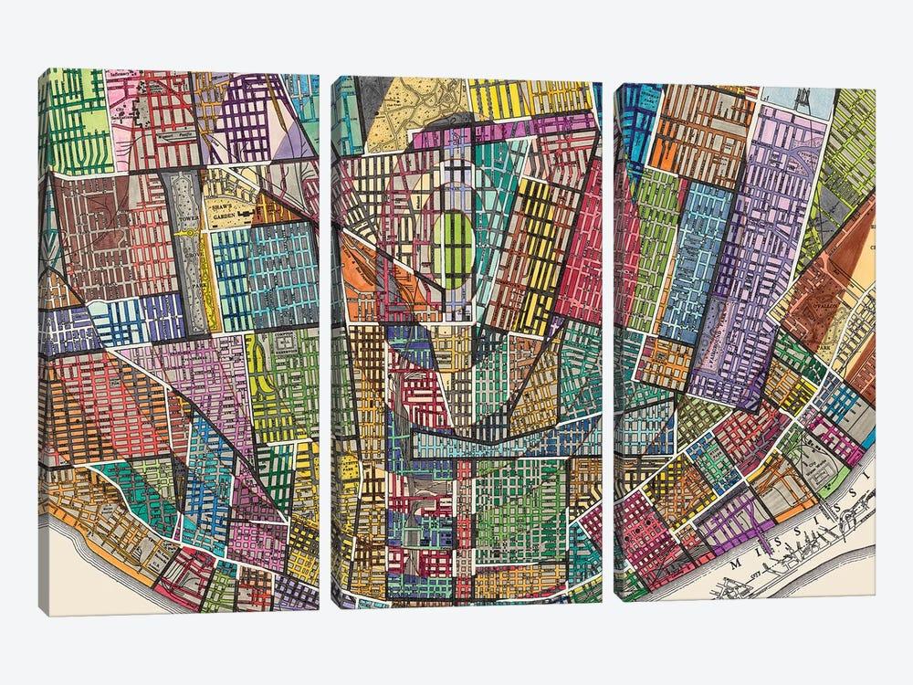Modern Map Of St. Louis by Nikki Galapon 3-piece Canvas Wall Art