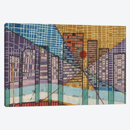 Modern Map Of Detroit Canvas Print #NIK4} by Nikki Galapon Canvas Art Print