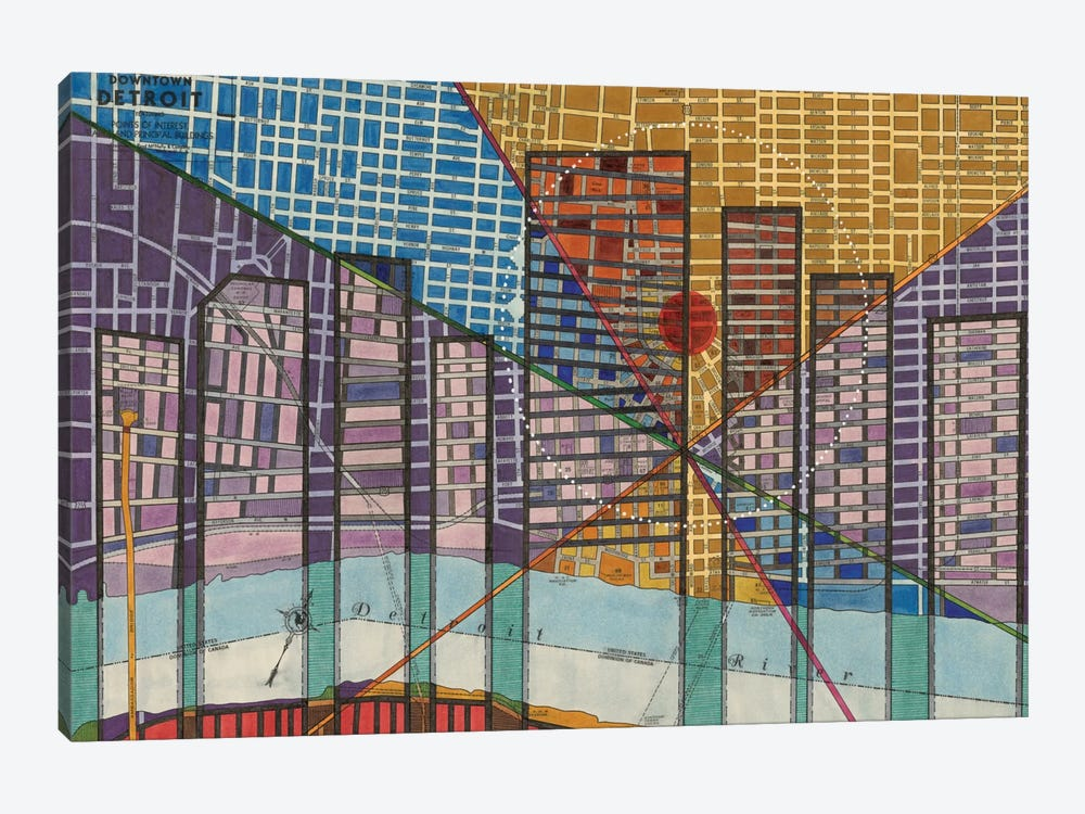 Modern Map Of Detroit by Nikki Galapon 1-piece Canvas Print