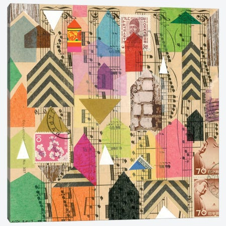 Stamped Houses I Canvas Print #NIK62} by Nikki Galapon Canvas Art Print