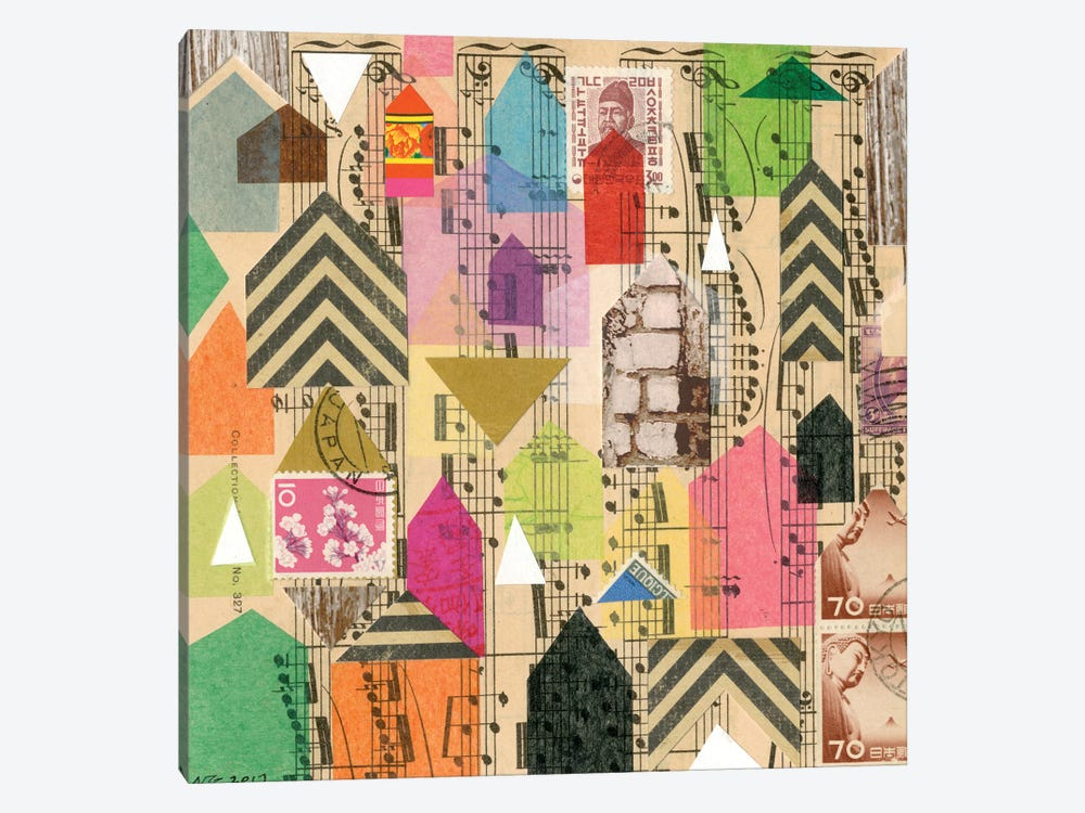 Stamped Houses I by Nikki Galapon 1-piece Canvas Print