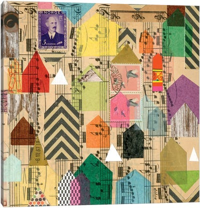 Stamped Houses II Canvas Art Print