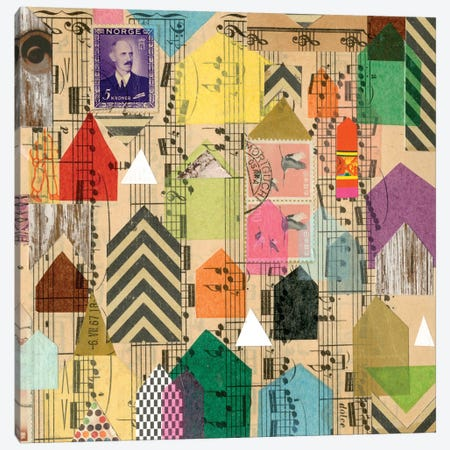 Stamped Houses II 3-Piece Canvas #NIK63} by Nikki Galapon Canvas Print