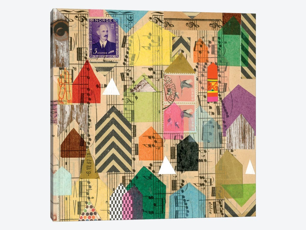 Stamped Houses II by Nikki Galapon 1-piece Canvas Wall Art