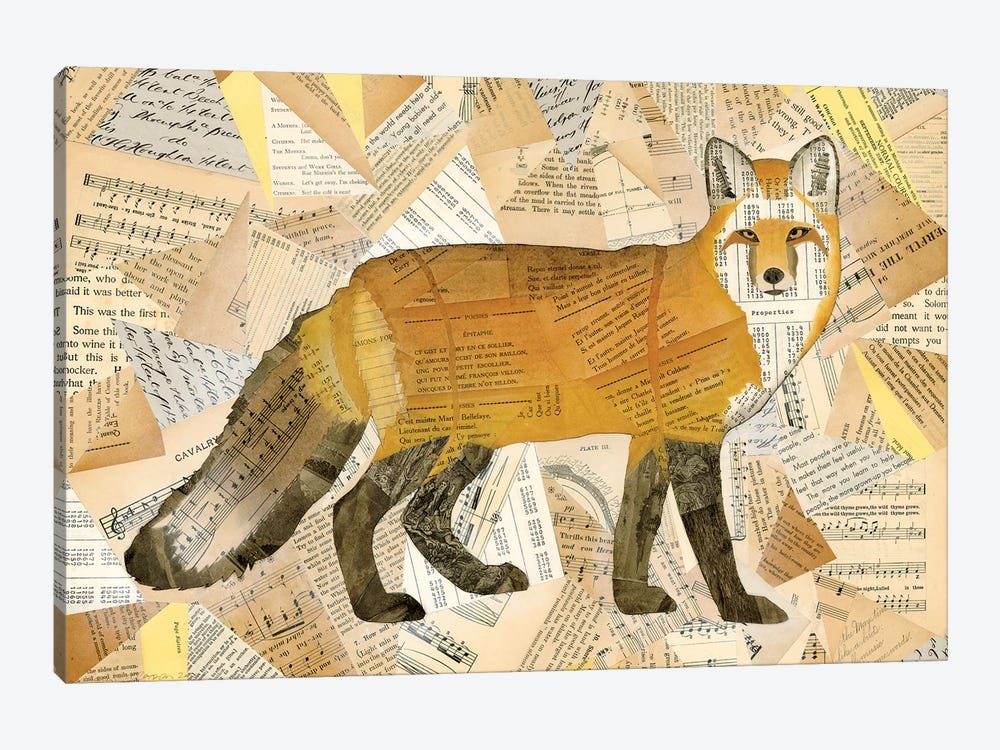 Red Fox Collage I by Nikki Galapon 1-piece Canvas Wall Art