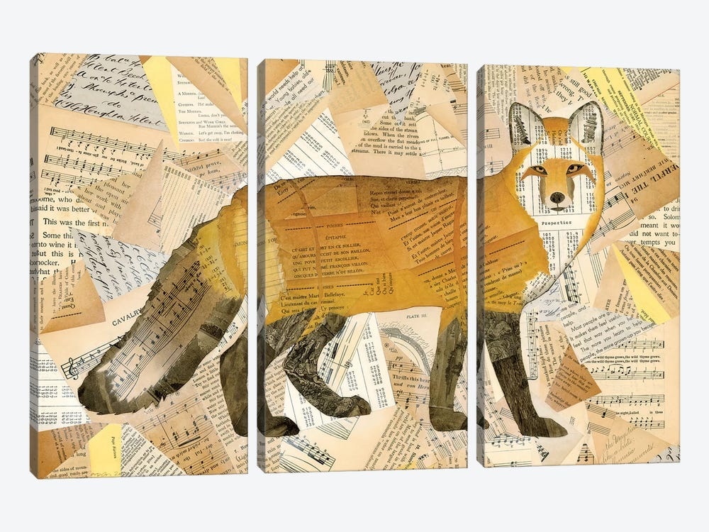 Red Fox Collage I by Nikki Galapon 3-piece Canvas Art