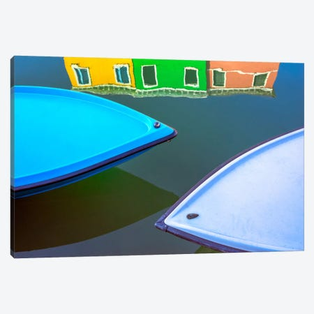 Burano Reflections, Burano, Italy Canvas Print #NIL12} by Jim Nilsen Canvas Art Print
