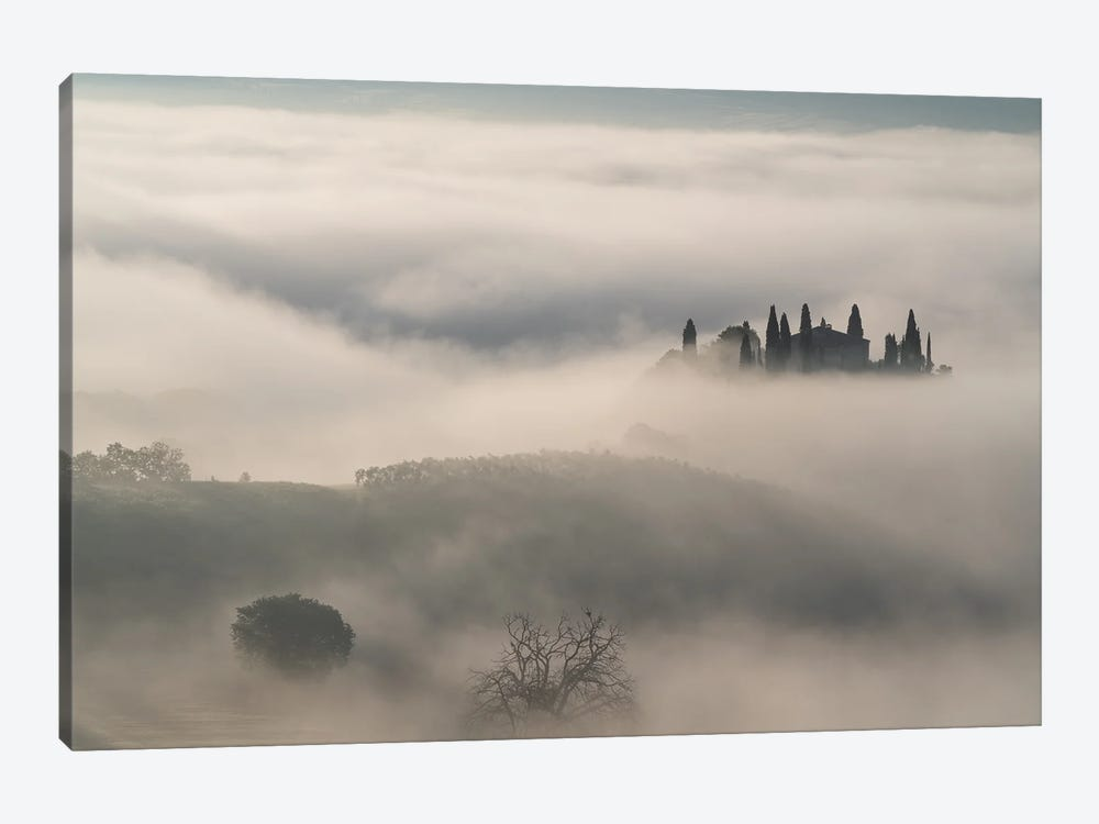 Out Of The Mist, Tuscany, Italy by Jim Nilsen 1-piece Canvas Artwork