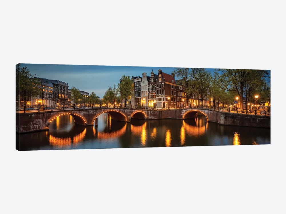 The Illuminated Bridge, Amsterdam, The Netherlands by Jim Nilsen 1-piece Canvas Artwork