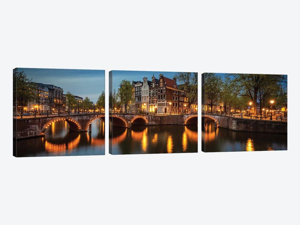 The Illuminated Bridge, Amsterdam, The Netherlands by Jim Nilsen 3-piece Canvas Art