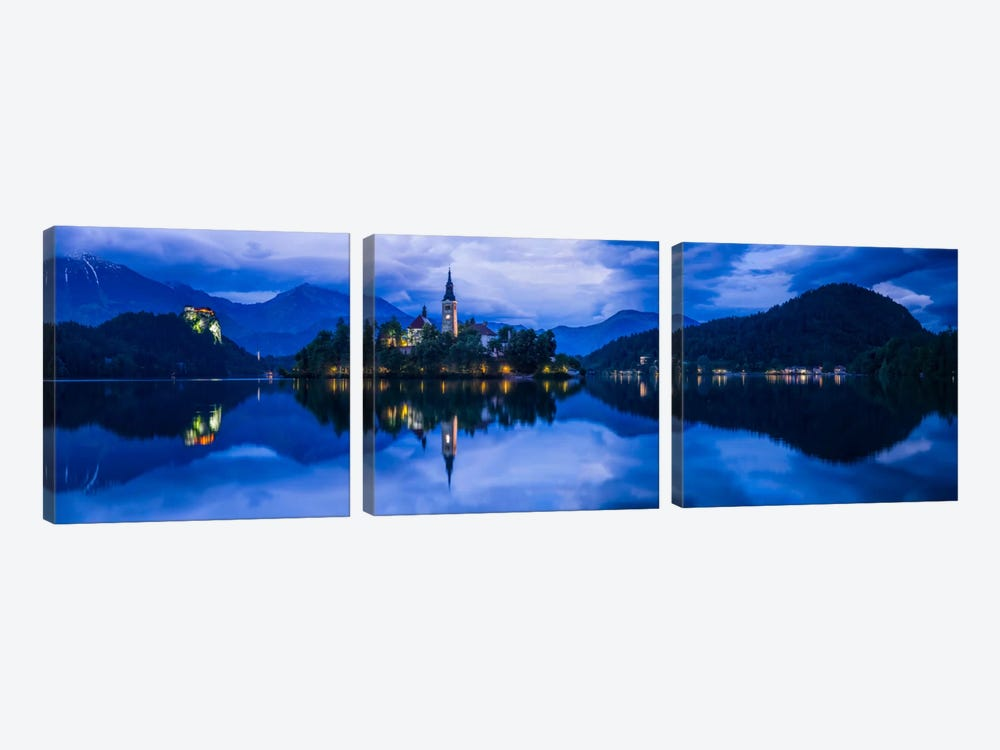 Lake Bled Blue, Bled, Slovenia by Jim Nilsen 3-piece Art Print
