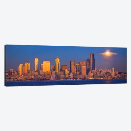 Moon Over Seattle, Seattle, Washington Canvas Print #NIL35} by Jim Nilsen Canvas Artwork