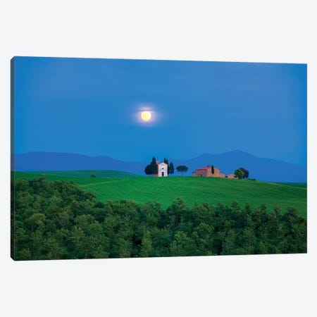 Moon Over Vitaleta, Tuscany, Italy Canvas Print #NIL36} by Jim Nilsen Canvas Art