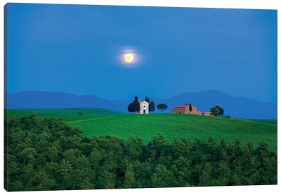 Moon Over Vitaleta, Tuscany, Italy Canvas Art Print