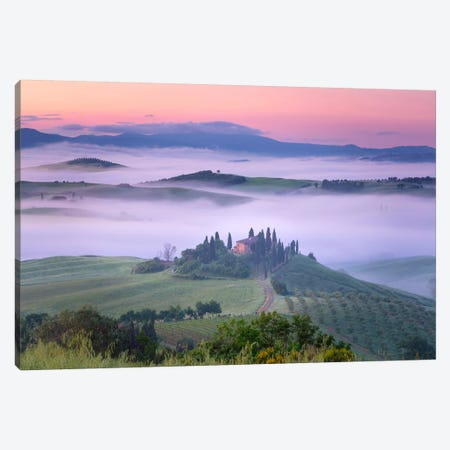 When The Rooster Crows, Tuscany, Italy Canvas Print #NIL76} by Jim Nilsen Canvas Wall Art