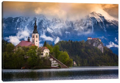 Winter's Last Stand, Bled, Slovenia Canvas Art Print