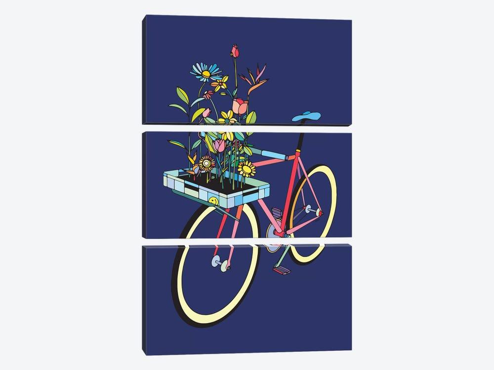 Bike And Flowers by Ninhol 3-piece Canvas Print