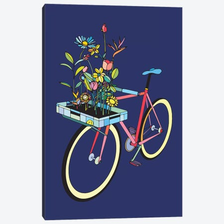 Bike And Flowers Canvas Print #NIN97} by Ninhol Canvas Artwork