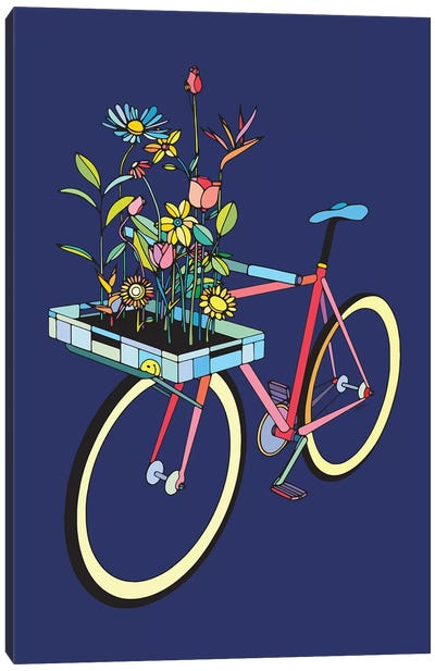 Bike And Flowers Canvas Art Print