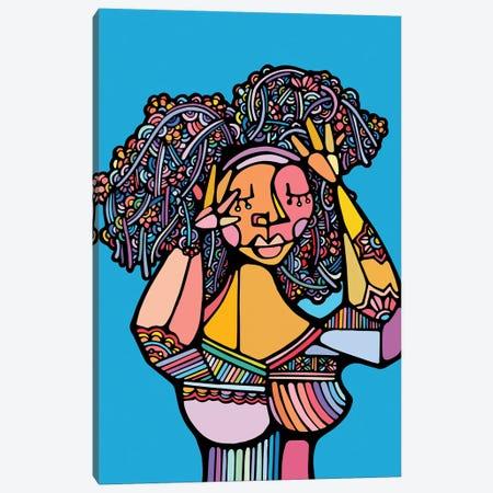 Black Hair Canvas Print #NIN9} by Ninhol Canvas Art Print