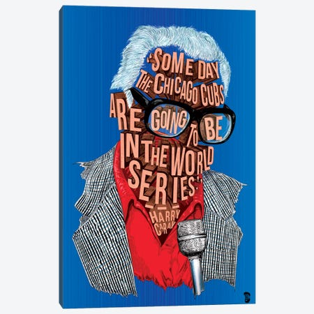 Harry Caray Canvas Print #NJO11} by Nate Jones Design Canvas Wall Art