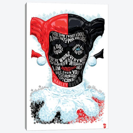 Harley Quinn Canvas Print #NJO12} by Nate Jones Design Canvas Art