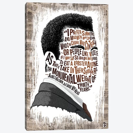James Baldwin Canvas Print #NJO13} by Nate Jones Design Canvas Wall Art