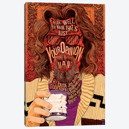 The Dude Canvas Print #NJO32} by Nate Jones Design Canvas Artwork