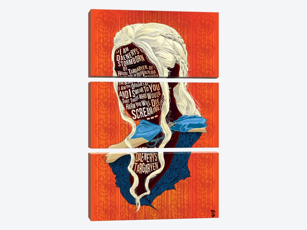 Daenerys by Nate Jones Design 3-piece Canvas Wall Art